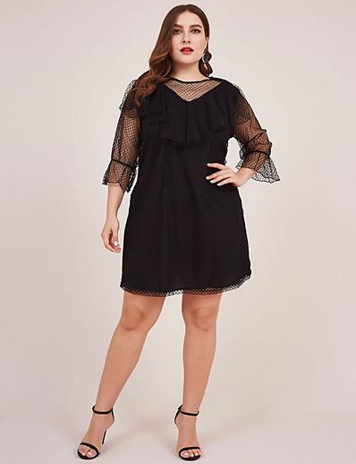 cheap Vintage Dresses-Women's Plus Size A-Line Dress Knee Length Dress - 3/4 Length Sleeve Solid Color Summer Casual Vintage 2020 Black L XL XXL XXXL XXXXL