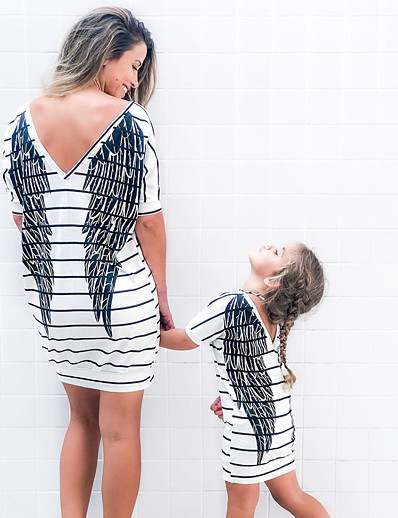 cheap Family Matching Outfits-Mommy and Me Dress Black & White Striped Graphic Geometric Print Short Sleeve Active Sweet Knee-length White