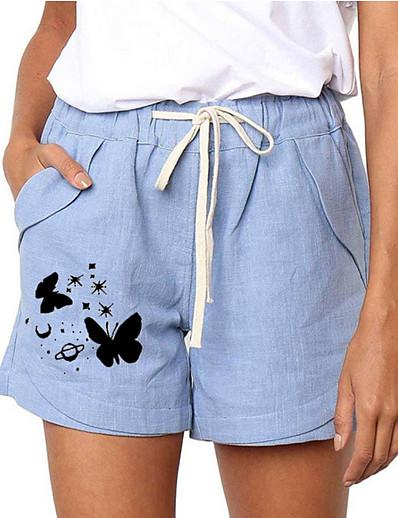 cheap Women's Bottoms-Women's Basic Loose Daily Shorts Pants Animal Drawstring Gray Light Blue