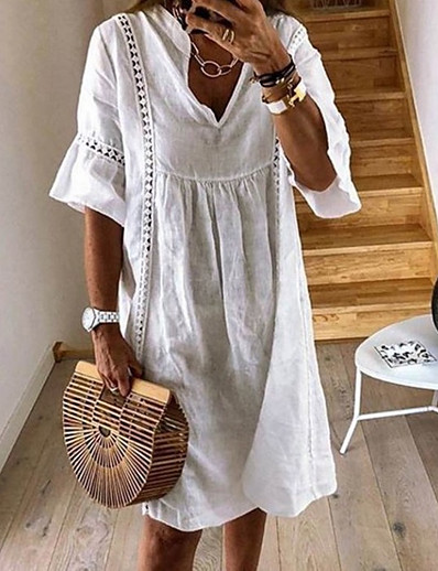 cheap Summer Dresses & Boho-Women's Shift Dress Knee Length Dress - Half Sleeve Summer V Neck Casual Loose 2020 White Yellow Green Dusty Blue Light Blue S M L XL XXL XXXL XXXXL