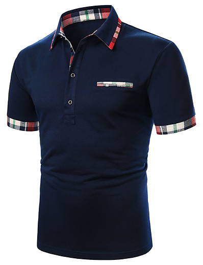 cheap Men's Tops-Men's Golf Shirt Tennis Shirt Solid Colored Patchwork Short Sleeve Daily Tops Basic Casual / Sporty Daily Navy Blue