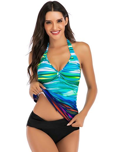 cheap SWIMWEAR-Women's Tankini Elastane Swimwear Breathable Quick Dry Sleeveless Swimming Surfing Water Sports Summer / Stretchy