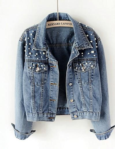 cheap Outerwear-Women's Denim Jacket Solid Colored Regular Daily Long Sleeve Denim Coat Tops Blue