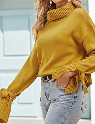 cheap TOPS-Women's Solid Colored Long Sleeve Pullover Sweater Jumper, Turtleneck Yellow S