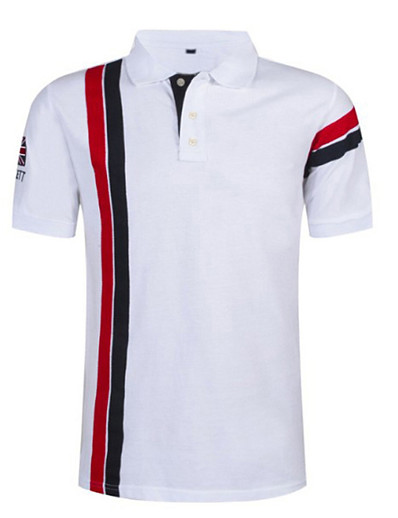 abordables Tops-Homme Polo Rayé Hauts Blanche Rouge Bleu Marine
