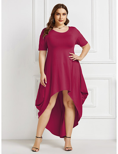 cheap Plus Size Dresses-Women's Swing Dress Midi Dress - Short Sleeve Solid Color Summer Elegant Party Going out Loose 2020 Black Wine Green Royal Blue Gray S M L XL