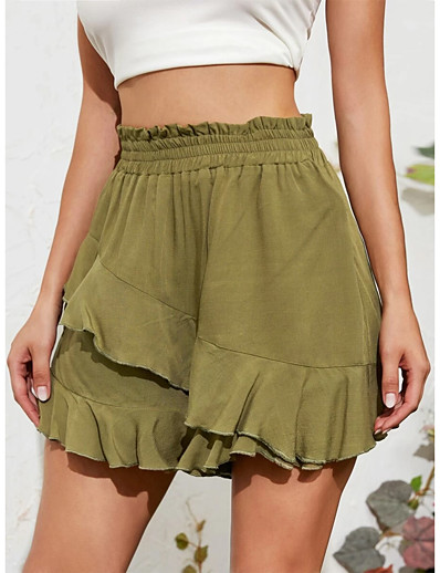 cheap Bottoms-Women's Basic Trumpet / Mermaid Skirts Solid Colored Layered Ruffle Green