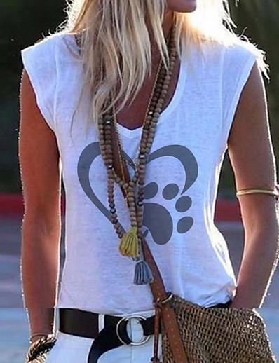 cheap Tank Tops-Women's Tank Top Geometric V Neck Tops Cotton White