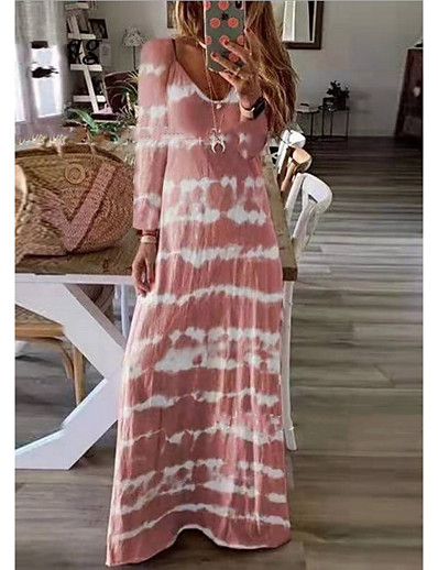 cheap Plus Size Dresses-Women's Maxi long Dress - Long Sleeve Tie Dye Print Spring Summer V Neck Plus Size Casual Holiday Vacation Loose 2020 Black Blushing Pink Khaki Green Dusty Blue Gray S M L XL XXL XXXL XXXXL XXXXXL
