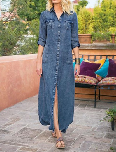 cheap Casual Dresses-Women's Denim Shirt Dress Maxi long Dress - Long Sleeve Solid Color Summer Shirt Collar Hot Casual 2020 Blue S M L XL XXL 3XL