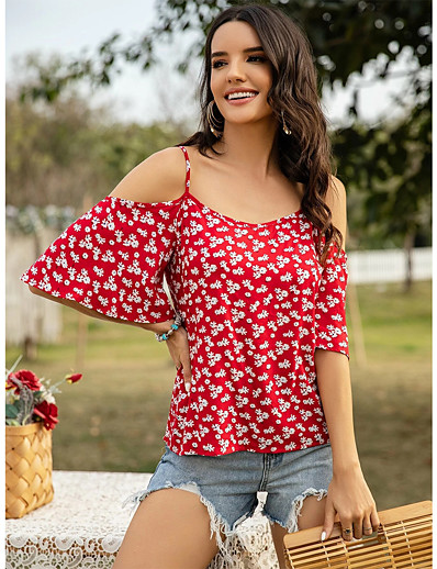 cheap Blouses & Shirts-Women's Blouse Floral Tops - Print Boat Neck Daily Summer Blue Red Yellow S M L XL