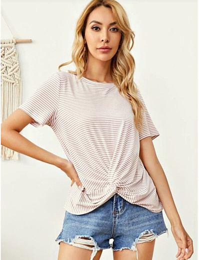 cheap TOPS-Women's Blouse Striped Tops - Knotted Round Neck Basic Daily Summer Dusty Rose XS S M L