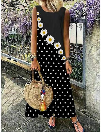 cheap Dresses-Women's Maxi long Dress Black Blue Yellow Red Green Sleeveless Daisy Floral Polka Dot Print Summer Round Neck Hot Casual 2021 M L XL XXL 3XL