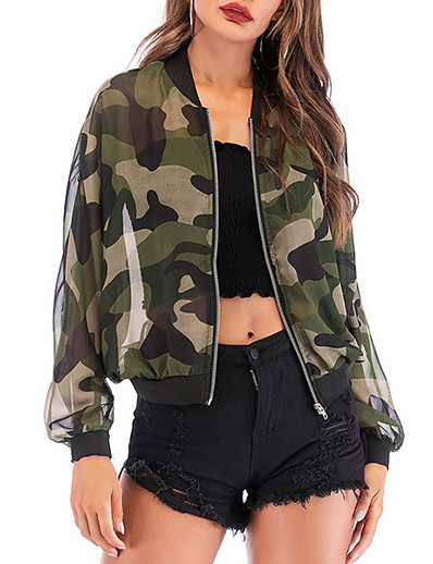 cheap Women's Outerwear-Women's Jacket Bomber Jacket Fall Spring Daily Regular Coat Stand Collar Loose Sporty Jacket Long Sleeve Camo / Camouflage Army Green