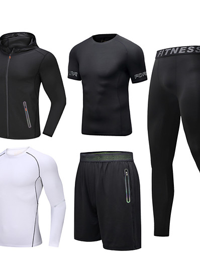 cheap Running, Jogging & Walking-Men's Tracksuit Activewear Set Workout Outfits Athletic Athleisure 5pcs Winter Long Sleeve Reflective Quick Dry Breathable Gym Workout Running Active Training Jogging Sportswear Skinny Jacket