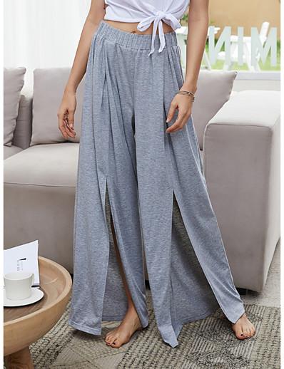 abordables Bas-Femme basique Ample Quotidien Chino Pantalon Couleur Pleine Gris