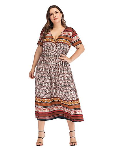 cheap Vintage Dresses-Women's Plus Size A-Line Dress Midi Dress - Short Sleeves Print Summer V Neck Casual Vintage 2020 Light Brown L XL
