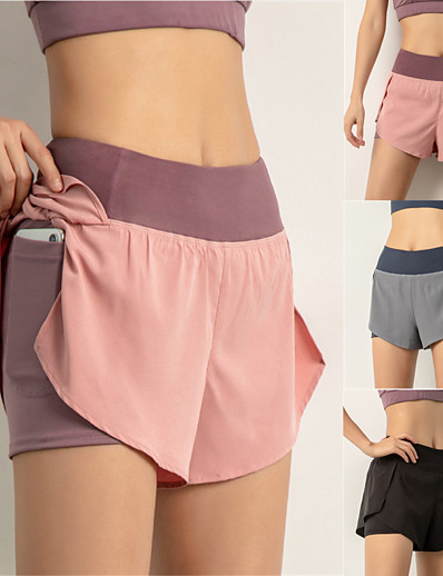 cheap Running, Jogging & Walking-Women's High Waist Running Shorts Shorts Bottoms 2 in 1 Liner Elastic Waistband Spandex Yoga Fitness Gym Workout Running Trail Training Lightweight Tummy Control Breathable Sport Black Pink Dusty Blue