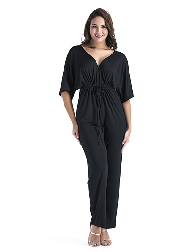 cheap Jumpsuits & Rompers-Women's Ordinary Business V Neck White Black Red Jumpsuit Solid Colored Drawstring