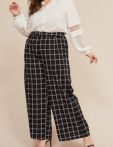cheap Bottoms-Women's Basic Loose Wide Leg Pants Plaid Checkered Black