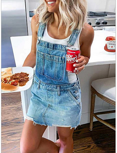 cheap Casual Dresses-Women's Denim Overall Pinafore Dress Short Mini Dress Sleeveless Solid Color Summer Hot Casual 2021 Blue Army Green Gray S M L XL XXL