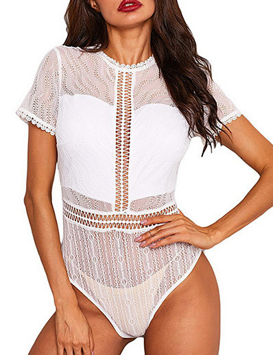 cheap JUMPSUITS & ROMPERS-Women's Solid Colored Lace Tops Basic Top White Black