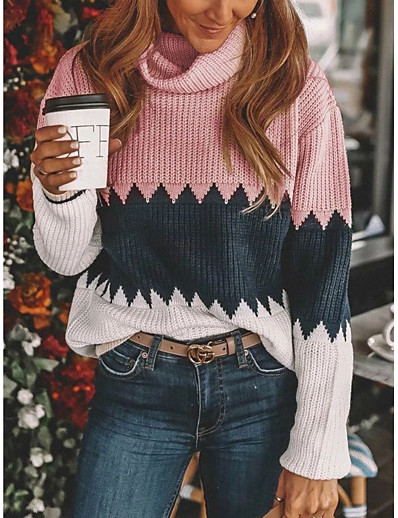 cheap NEW IN-Women's Color Block Pullover Long Sleeve Loose Oversized Sweater Cardigans Turtleneck Fall Purple Blushing Pink Khaki