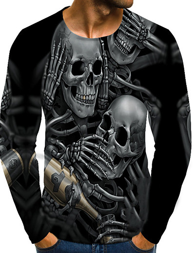 cheap MEN-Men's T shirt Graphic Skull Plus Size Print Long Sleeve Daily Tops Streetwear Exaggerated Round Neck Rainbow