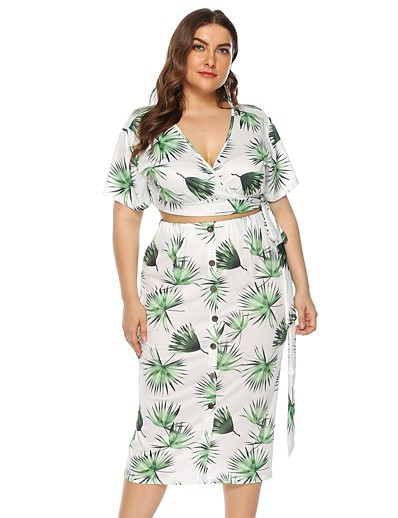 cheap Plus Size Loungewear-Women's Basic Geometric Two Piece Set Set Skirt Print Tops