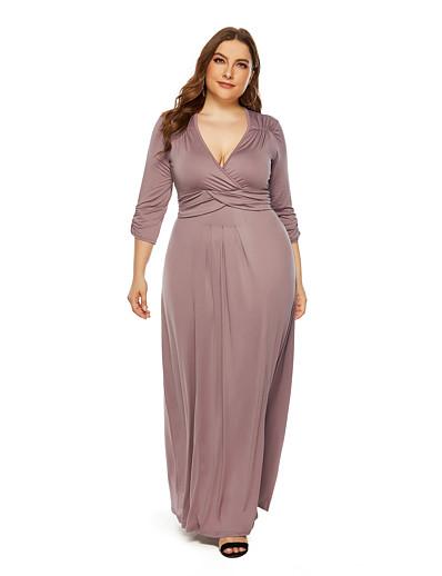 cheap PLUS SIZE-Women's Sheath Dress Maxi long Dress - 3/4 Length Sleeve Solid Color Fall V Neck Plus Size Sexy 2020 Black Blue Wine Khaki L XL XXL 3XL
