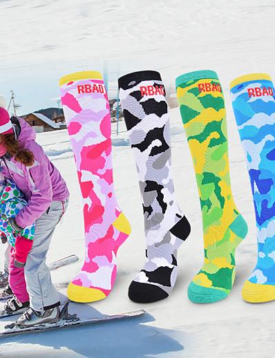 cheap SPORTSWEAR-R-BAO Boys' Girls' Hiking Socks Ski Socks 1 Pair Winter Outdoor Breathable Warm Sweat-wicking Comfortable Socks Chinlon Elastane Fuchsia Blue Grey for Ski / Snowboard Camping / Hiking / Caving