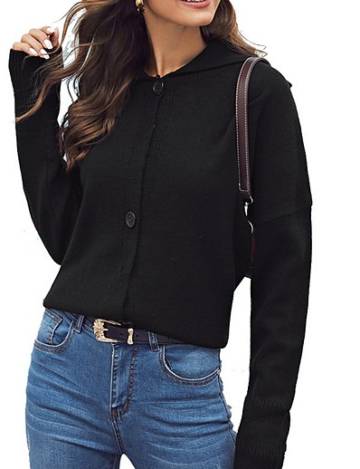 cheap Sweaters & Cardigans-Women's Solid Colored Cardigan Long Sleeve Sweater Cardigans Crew Neck Round Neck Black