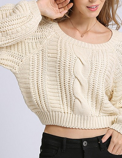 cheap TOPS-Women's Solid Colored Long Sleeve Pullover Sweater Jumper, Round Neck Beige S / M / L