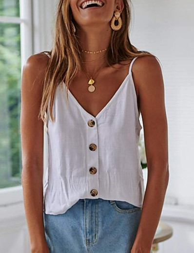 cheap 06/26/2020-Women's Camisole Solid Colored Tops V Neck Daily White S M L XL