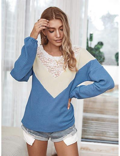 cheap Sweaters & Cardigans-Women's Color Block Pullover Long Sleeve Loose Sweater Cardigans Round Neck Spring Fall Blue Yellow Army Green