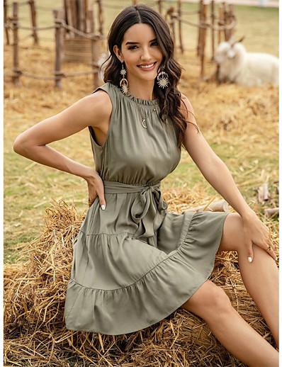 cheap Boho Dresses-Women's Sheath Dress Short Mini Dress - Sleeveless Solid Color Patchwork Summer Casual 2020 Green S M L XL