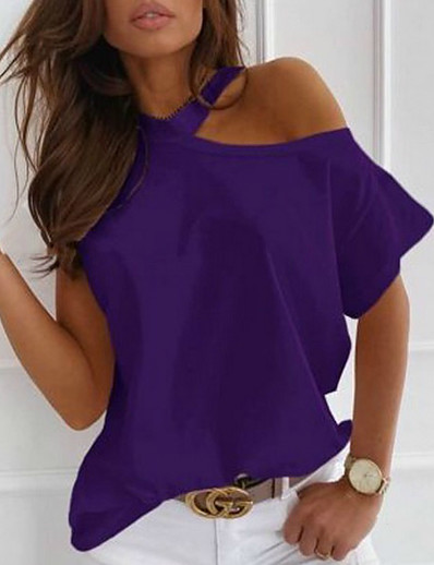 cheap TOPS-Women's Blouse Shirt Solid Colored One Shoulder Round Neck Tops Loose Basic Top White Black Purple