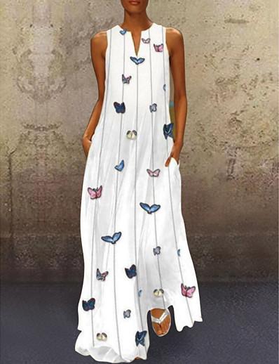 cheap Daily Dresses-Women's A-Line Dress Maxi long Dress - Sleeveless Butterfly Animal Print Summer V Neck Casual Holiday Vacation Beach 2020 White Yellow Blushing Pink Light Blue S M L XL XXL XXXL XXXXL XXXXXL