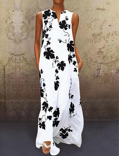 abordables Robes Maxi-Femme Robe Trapèze Robe Maxi longue - Sans Manches Fleurie Eté Col en V Simple 2020 Blanche Noir Rouge S M L XL XXL 3XL 4XL 5XL