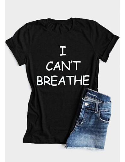 cheap TOPS-Women's T-shirt Letter Print Round Neck Tops 100% Cotton Basic Basic Top White Black Red