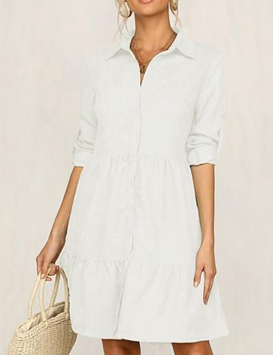 cheap 06/26/2020-Women's Shirt Dress Knee Length Dress - Long Sleeve Solid Color Summer Casual 2020 White Black Yellow Blushing Pink Green S M L XL