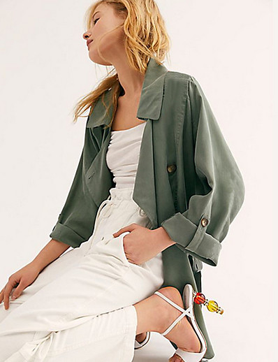 cheap Trench Coats-Women's Trench Coat Daily Regular Solid Colored Orange / Green S / M / L