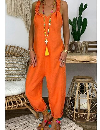 cheap JUMPSUITS & ROMPERS-Women's Black Blue Red Loose Jumpsuit Solid Colored