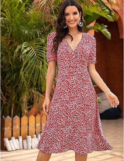 cheap MORE STYLE-Women's Swing Dress Midi Dress - Short Sleeves Geometric Split Summer Boho 2020 Blue Red S M L XL