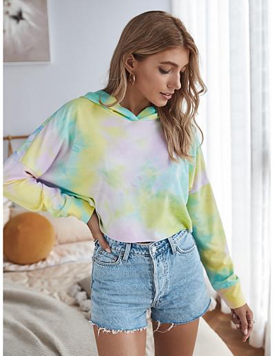 cheap OUTERWEAR-Women's Hoodie Tie Dye Basic Yellow Blushing Pink Gray S M L XL