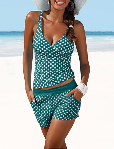 cheap Sexy Swimwear-Women's Two Piece Swimsuit Slim Polka Dot Swimwear Bathing Suits White Black Navy Blue / Padded Bras