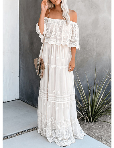 cheap Lace Dresses-Women's Swing Dress Maxi long Dress White Half Sleeve Solid Color Backless Lace Summer Off Shoulder Hot Sexy 2021 S M L XL