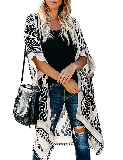 cheap Jackets & Blazers-Women's Blouse Graphic Tops V Neck Daily White Blue Brown One-Size