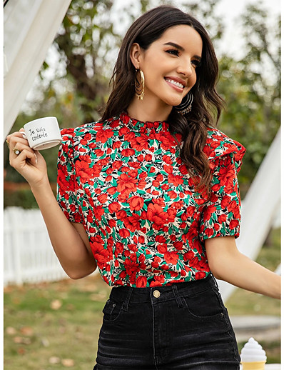 cheap TOPS-Women's Blouse Floral Tops - Ruffle Round Neck Daily Summer Red S M L XL