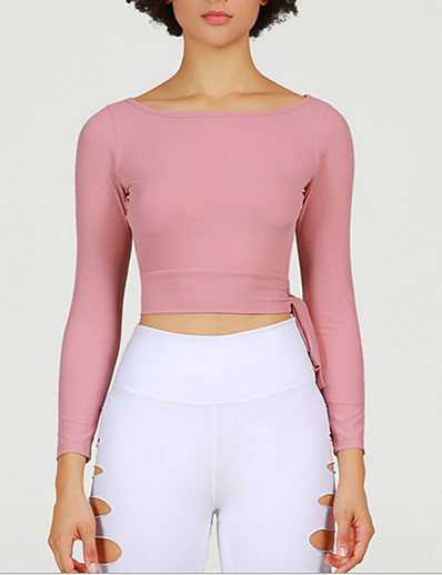 cheap Tops-Women's T-shirt Solid Colored Round Neck Tops Slim Blushing Pink